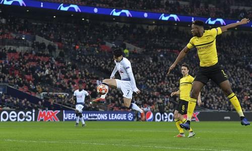 Son ghi bàn mở tỷ số giúp Tottenham thắng Dortmund 3-0 ở lượt đi vòng 1/8 Champions League. Ảnh:Reuters.