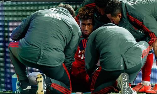 Coman có thể tái phát chấn thương và phải nghỉ thi đấu dài hạn. Ảnh: Bayern.