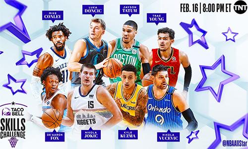 Tám cầu thủ thi kỹ năng tại All-Star 2019.