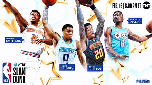Bốn cầu thủ thi úp rổ ở All-Star 2019.