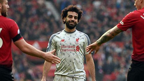 Salah chưa một lần sút tung lưới Man Utd kể từ khi gia nhập Liverpool. Ảnh: PA.