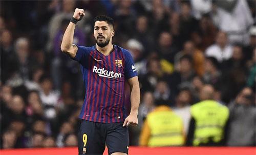 Suarez rất có duyên khi gặp Real mùa này. Ảnh: Reuters