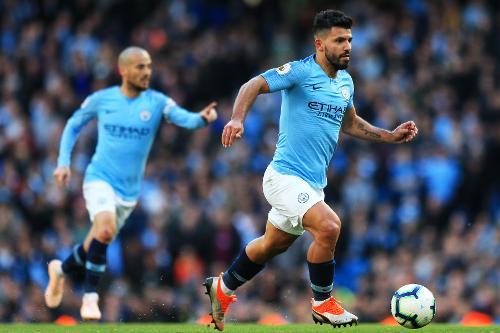 Aguero và các đồng đội đang thắng như chẻ tre ở Ngoại hạng Anh. Ảnh:Man City.