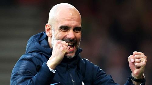 Man City của Guardiola đang hướng tới cú ăn bốn mùa 2018-2019. Ảnh: EPA.