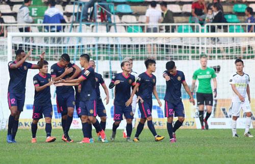 Sài Gòn giành chiến thắng thứ hai liên tiếp ở V-League. Ảnh:Đức Đồng.