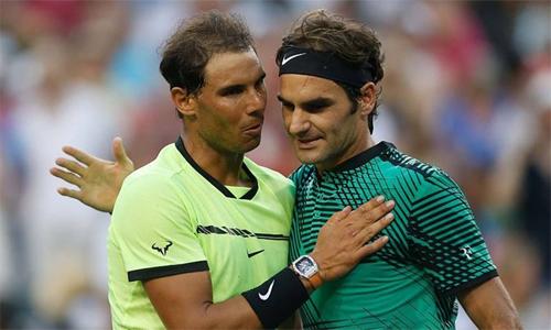 Federer từng chỉ mất 68 phút để hạ Nadal tại vòng bốn Indian Wells 2017. Ảnh: AFP.