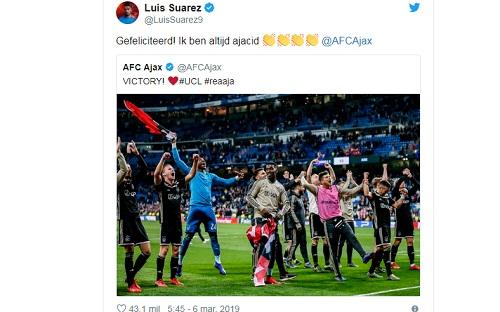 Suarez bày tỏ sự vui mừng sau khi Ajax loại Real. Ảnh: Twitter.