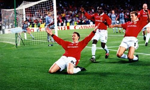 Solskjaer phấn khích ghi ghi bàn trong trận thắng Bayern 2-1 ở chung kết Champions League 1999.