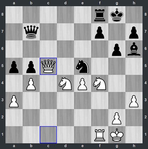 Thế cờ sau 28.Qc5. Trắng vừa đi Hậu lên c5, dọa bắt tốt b5. Nhưng Fenil không nhìn ra lời đáp trả của Đen. Sau khi đổi tượng lấy mã, Anh Khôi nhảy mã lên d3, bắt hậu hoặc xe. Fenil đầu hàng sau đó vài nước.