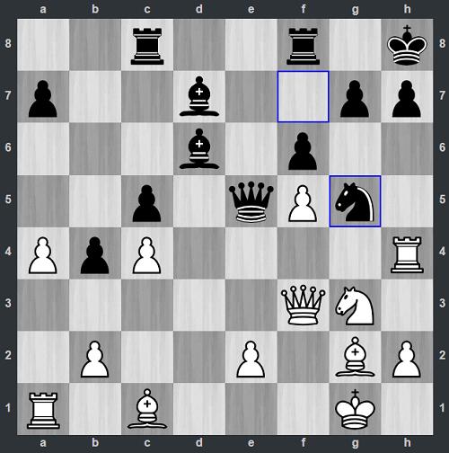 Đen vừa nhảy mã lên g5 ở nước 25 mà không ngờ đó là sai lầm chí mạng. Sau khi đổi tượng lấy mã, Shyaamnikhil (Trắng) thí xe với 27.Rxh7. Trắng chuẩn bị cho thêm hai nước chiếu hậu ở d5 rồi tượng ở d5.
