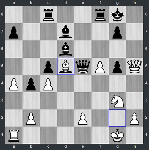 Đen không còn cách khác, phải đổi hậu lấy tượng d5. Kwon đầu hàng ở nước 31.