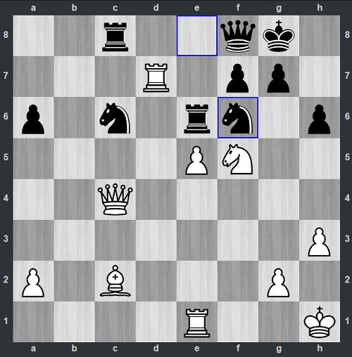 Đen vừa đi 34...Nxf6. Có lẽ Pichot sẽ bất ngờ khi Trắng đáp trả với 35.Rxf7. Tượng trắng sẵn sàng tăng hỏa lực ở đường chéo a2-g8. Hơn nữa, mã trắng cũng chỉ chờ nhảy sang ô d6, vừa đe dọa xe c8, vừa tấn công f7.