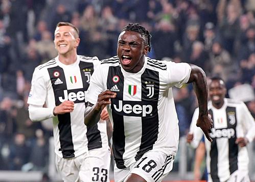 Moise Kean ghi dấu ấn trong trận đấu Juventus không có sự phục vụ của các tiền đạo trụ cột. Ảnh:AFP.