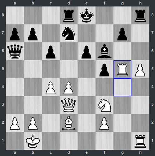Thế cờ sau 20.Rxg5. Xe trắng thành xe điên với nước thí thứ ba. Miciano muốn đưa tượng trắng lên g5 bằng mọi giá. Nếu thành công, anh có thể siết thòng lọng vua đen bằng cách tấn công vào điểm yếu e6 hay g6. Một lần nữa Văn Huy không chấp nhận đòn thí, mà đáp trả bằng nước chính xác: 20...Nc5.