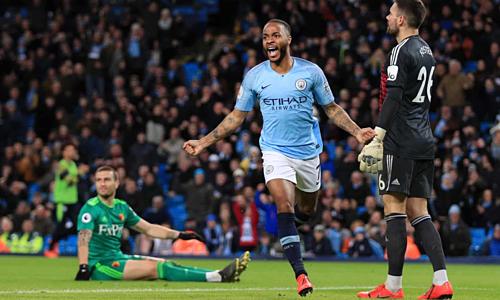 Man City tiếp tục theo đuổi cú ăn bốn mùa này. Ảnh:Reuters.