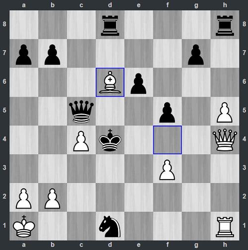Thế cờ sau 33.Bd6. Đen đầu hàng vì sẽ bị chiếu hết trong sáu nước tiếp theo.