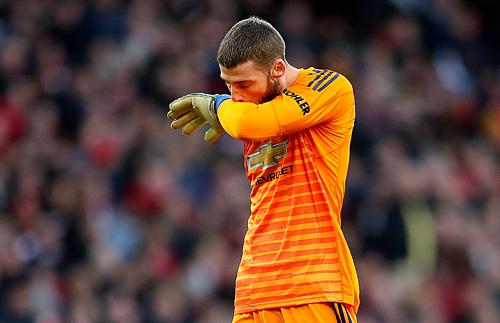De Gea mắc sai lầm trong trận đấu quan trọng của Man Utd. Ảnh:AFP.