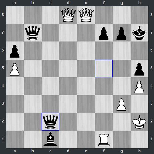 Đen vừa đi 47...Qc2. Lúc này, Trắng có thể mang lần lượt hai hậu và xe trắng đến hàng hai để ngăn chặn, nhưng cũng không tránh được đòn chiếu hết ở g2. Demchenko dừng đồng hồ, xin thua.