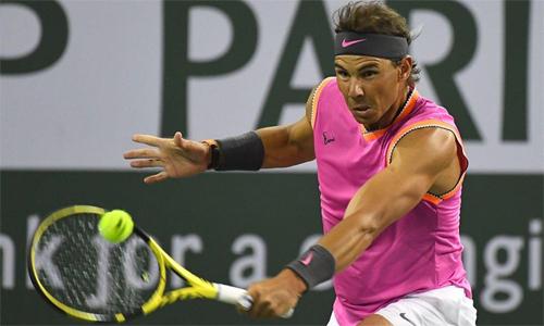 Nadal đang có phong độ giao bóng tốt tại Indian Wells. Ảnh: Reuters.