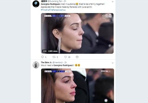 Hình ảnhGeorgina khóc được nhiều người chia sẻ trên mạng xã hội. Ảnh chụp màn hình.