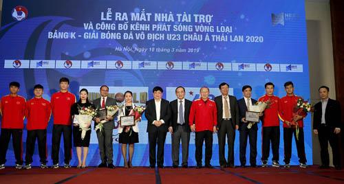 Thầy trò HLV Park Hang-seo trong lễ công bố nhà tài trợ và kênh phát sóng vòng loại U23 châu Á 2020, bảng K tại Hà Nội ngày 18/3.