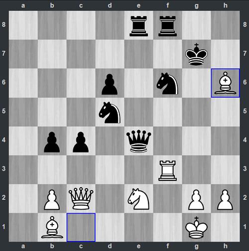Thế cờ sau 29.Bxh6. Quả bom thứ hai. Anh Khôi thí tượng để dụ vua đen ra khỏi thành. Một lần nữa, Ganguly phải chấp nhận đòn thí, khiến vua đen không còn mảnh vải che thân.