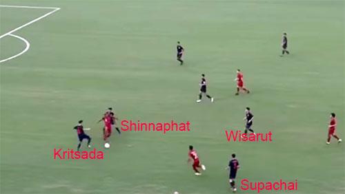Supachai gần như dừng hẳn lại để Osvaldo đưa bóng cho tiền đạo Manewar. Trung vệ lệch phải của Thái Lan, Kritsada tỏ ra bối rối giữa việc lao lên cắt bóng, hay lùi lại chặn đường chuyền. Kết quả, Indonesia có một pha đưa bóng dọc biên trái, giúp Osvaldo xâm nhập cấm địa.