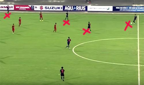 Trong tình huống sau pha bóng trên chừng một phút, Thái Lan tấn công bên cánh phải. 3 cầu thủ áo xanh gặp khó khi có tới 4 cầu thủ Indonesia tham gia phòng ngự. Lập tức trung vệ lệch phải của Thái Lan dâng lên, cân bằng quân số và tham gia luân chuyển bóng.
