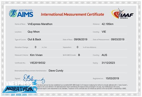 VnExpress Marathon là một trong bốn giải chạy ở Việt Nam được cấp chứng nhận tiêu chuẩn đường chạy của AIMS-IAAF.
