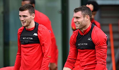 Milner (phải) có thể thay Robertson trấn giữ cánh trái. Ảnh: LFC.