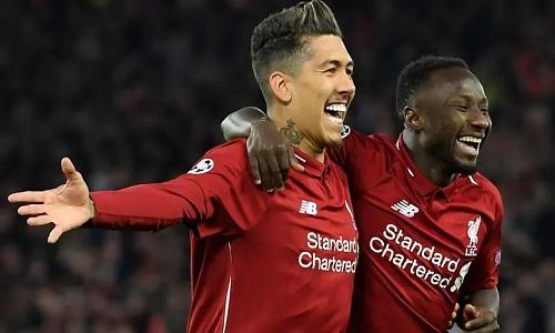 Firmino và Keita giúp Liverpool nắm lợi thế dẫn hai bàn ở lượt về. Ảnh:AFP.