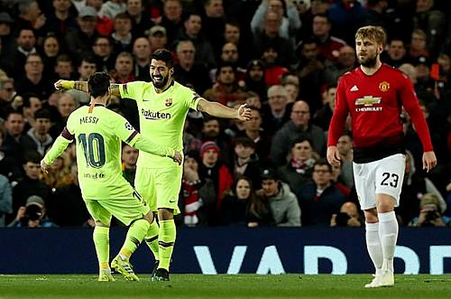 Barca giành chiến thắng lượt đi nhưng cơ hội chưa hết với Man Utd. Ảnh:Rex.