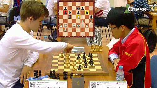 Cũng như Carlsen (trái), Quang Liêm cảm thấy kỳ lực đang được cải thiện. Nhưng anh cần thời gian để đạt cột mốc Elo mới. Mục tiêu trước mắt của Quang Liêm là Elo 2.750. Elo tức thời của anh là 2.704.