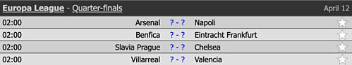 Lịch đấu các trận tứ kết lượt đi Europa League, theo giờ Hà Nội.