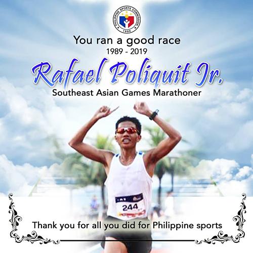 Ủy ban Thể thao Philippines thông báo Rafael Poliquit qua đời. Ảnh: Philippines Sport Commision.