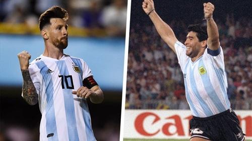 Messi (trái) là hậu bối có phong cách thi đấu giống Maradona nhất.
