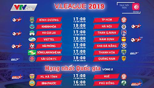 Lịch thi đấu, tường thuật V-League và hạng Nhất 2019.