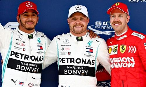 Mercedes một lần nữa chiếm hai vị trí xuất phát đầu ở mùa giải năm nay. Ảnh: AFP.