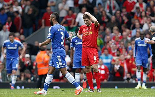 Gerrard và nỗi đau không nguôi với Liverpool ở mùa 2014. Ảnh:AFP.