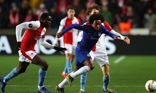 Chelsea quá mạnh so vớiSlavia Prague và gần như cầm chắc vé đi tiếp. Ảnh: Reuters.