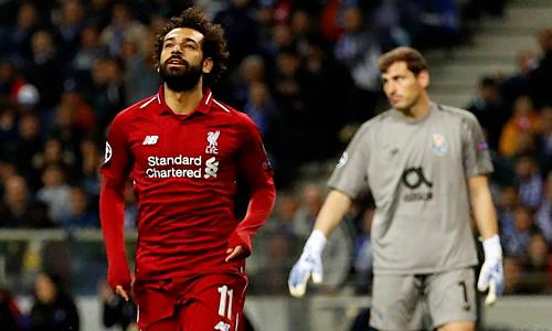 Salah ghi bàn thứ tư tại Champions League mùa này. Ảnh: Reuters.