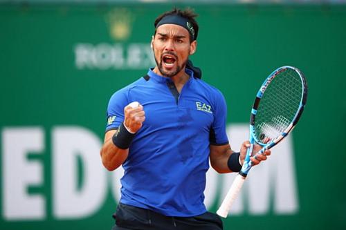 Fognini sáu lần thắng game giao bóng của Nadal, và thắng 60% điểm số có dưới 10 lần chạm vợt (56/94). Ảnh:Tennis World.