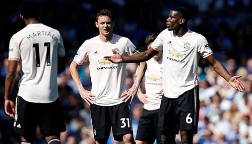 Pogba và các đồng đội trong trận thua Everton. Ảnh:Reuters.