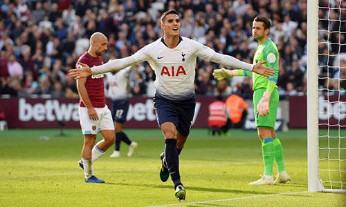 Lamela là người ghi bàn duy nhất giúp Tottenham thắng lượt đi. Ảnh: Reuters.