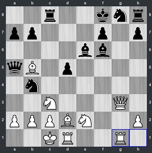 Thế cờ sau 25.Rhg1. Quang Liêm không lường trước được đòn thí hậu của Đen với 25...Qxb5. Nếu Trắng dùng mã ăn Hậu, sẽ bị chiếu hết sau ba nước, bắt đầu với 26...Rxc2.