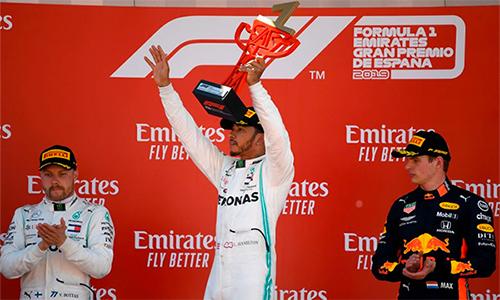 GP Tây Ban Nha là chặng thứ năm liên tiếp bộ đôi của Mercedes giành chiến thắng kép. Ảnh: F1.