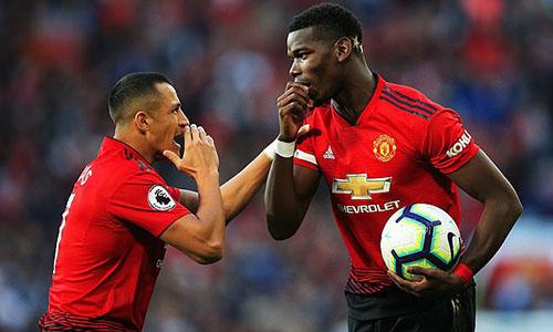 Sanchez (trái) và Pogba là hai cầu thủ hưởng lương cao nhất của Man Utd. Ảnh: Reuters.