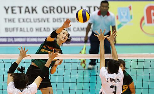 Thanh Thuý (áo xanh) và các đồng đội trải qua trận đấu khó khăn trước các cô gái trẻ Thái Lan. Ảnh: Đức Đồng.