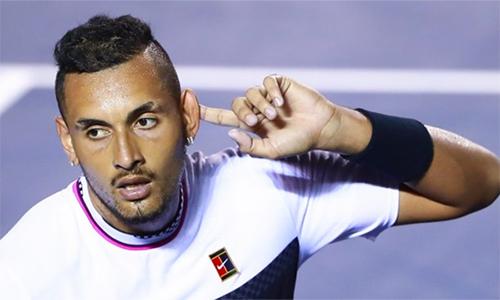 Kyrgios ngạo nghễ trong lần hạ Nadal tại Mexico Mở rộng hồi đầu năm. Ảnh: Marca.