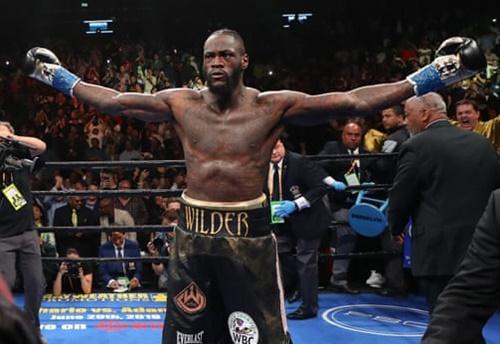 Wilder giang rộng hai tay mừng chiến thắng, sau khi đấm gục đối thủ, mà không chờ trọng tài đếm đến 10. Ảnh: Reuters.